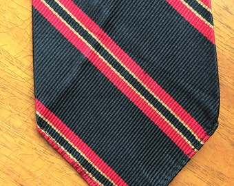 Vintage 60s The Union Black Red Yellow Stripe Repp Tie Unlined
