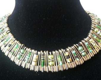 Safety Pin Necklace in Green
