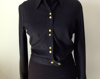 Vintage black crepe blouse, year 60, size 34/36 or XS/S.