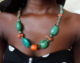 Gemstones and silver necklace #TRD3