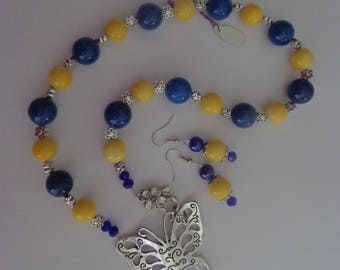 Butterfly Necklace and Earrings with Cobalt Blue Beads and Yellow Beads,Summer Necklace Set