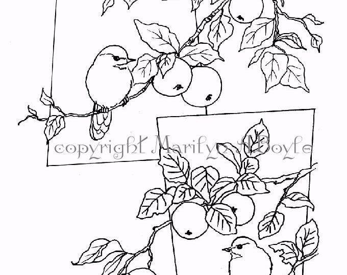COLORING PAGE - CHICKADEES and Apples; Digital download, for older child and adults, garden, nature, song bird, original art, pen and ink,