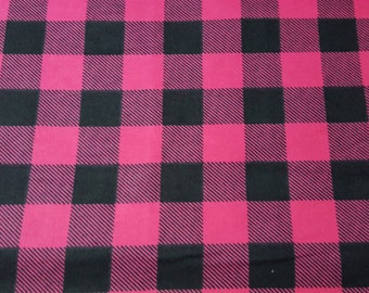 Flannel Fabric - Pink Black Buffalo Check - By the Yard - 100% Cotton Flannel