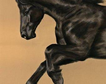Friesian Horse - Pastel Portrait painting