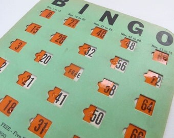 Vintage Bingo! Family Game Night with Reusable Bingo Game Cards Set 100 Sliding Plastic Green Orange Industrial Decor Wall Art Seattle WA