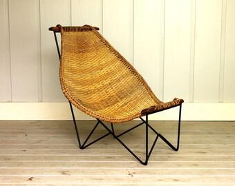 Vintage Duyan Chair by John Risley or Danny Ho Fong Woven Cane Wrought Iron Basket Weave Boho Mid Century Modern 50's 60's Retro
