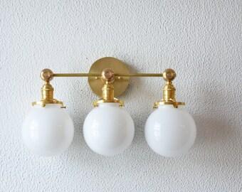 "Free Shipping! Vanity Light Three Globe White Gold Brass Wall Sconce 6"" Mid Century Industrial Modern Art Light UL Listed"