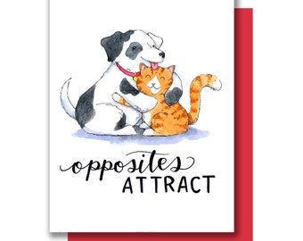Opposites Attract Cat Dog Hugging Valentine Love Card