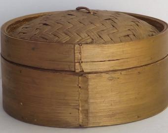 vintage bamboo basket-gold painted basket-oriental steamer basket-Japanese basket-zen minimalist basket-Asian home decor-storage basket