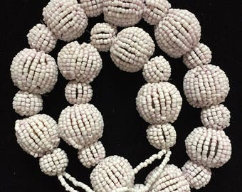Beaded Necklace, White Beaded Necklace