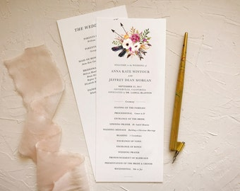 Boho Ceremony Program for Rustic Wedding
