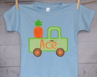Personalized Easter Carrot Truck Applique Shirt or Onesie Girl or Boy