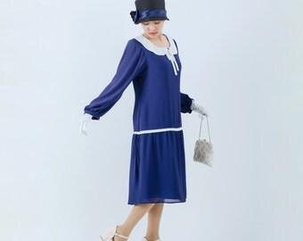 Long sleeved Great Gatsby dress in dark blue with peter pan collar, blue 1920s dress, blue flapper dress, Downton Abbey dress, 20s dress