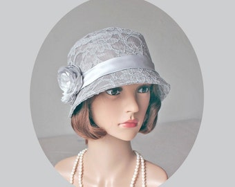 Great Gatsby hat with cotton and lace, grey cloche hat, lace Downton Abbey hat, high tea hat, flapper hat, summer cloche hat, 1920s cloche