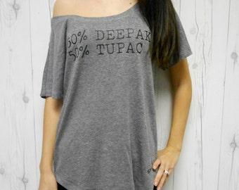 Deepak Tupac Off Shoulder Flowy Tee. Half Deepak Half Tupac Flowy Off Shoulder Shirt. Tupac Shirt. Deepak Shirt. 50 Tupac. Concert Shirt