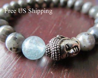 Aquamarine, Buddha,  Blue Labradorite Bracelet for Women or Men, Natural Stone Bracelet, Gemstone Bracelet, Spiritual Jewelry, Yoga Jewelry