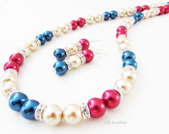 Navy Blue, Red and Champagne Pearl Bead Necklace with Matching Earrings, Navy and Red Pearl Jewellery, Navy Wedding Jewelry Set