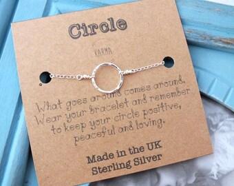 Sterling Silver Circle Bracelet, Karma Bracelet, Eternity Bracelet, Dainty Circle Bracelet, Bridesmaid Bracelet, Circle Jewelry