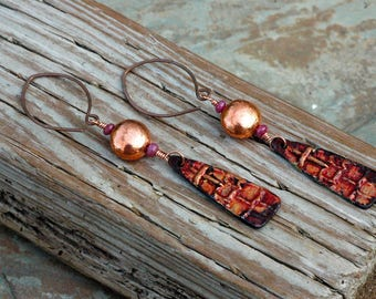 Bohemian Earrings Copper; Ruby Earrings; Inviciti; Copper Tribal Earrings; Long Tribal Earrings; Rustic; Ethnic; Passion