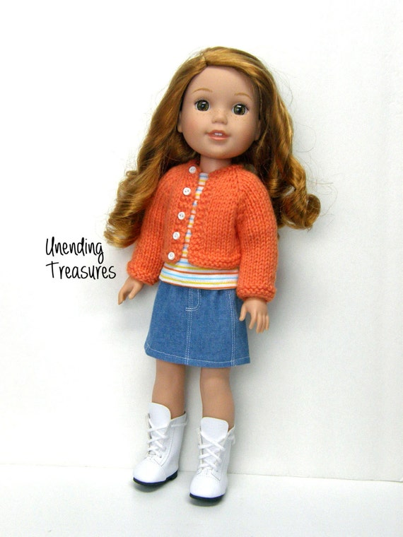 14 inch doll clothes AG doll clothes hand knitted ORANGE
