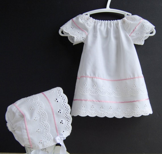Upcycled Newborn Dress Eyelet Baby Dress and Bonnet