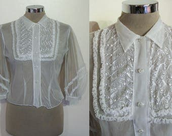 Wonderful late 1940s sheer blouse w/ balloon sleeves, embroidered bib, ruffles! bust 35""