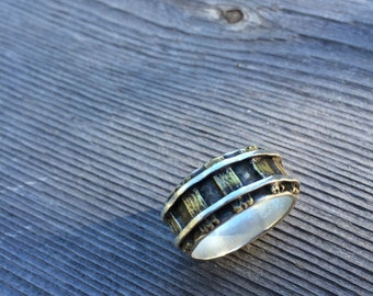 Sterling Silver & Brass Railroad Track Ring