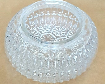 Vintage Glass Bowl Glass Bowl Vintage Retro Glass Vase - Bowl Pressed Glass Bowl Old Bowl 1950's Glass