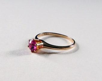 Edwardian Ostby Barton 10k gold red topaz tiffany setting antique engagement ring size 6.75 circa 1905
