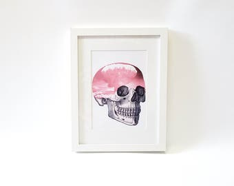 Pastel Goth Art Skull Art Skull Wall Art Gothic Home Decor Surrealism Pop Art