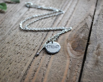 Strength Necklace - Arrow Necklace - Hand Stamped Necklace - Custom Necklace