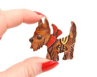 1950s Novelty Wooden Scottie Dog Brooch Pin