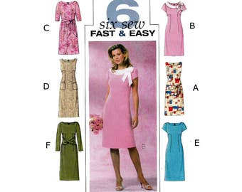 Women's Sheath Dress Sewing Pattern, Misses Size 8-10-12-14 Uncut, Six Sew Fast & Easy Butterick B4386