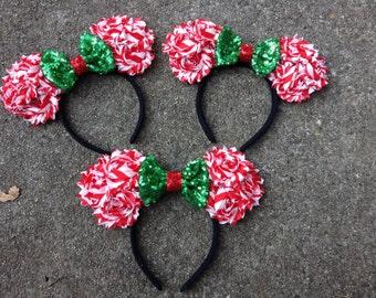 Holiday- Christmas- Mouse Ears Headband-Red & Green- December-vacation fun- child headband-adult headband