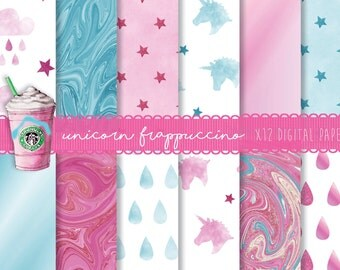 Pink blue unicorn digital paper,  Unicorn digital patterns, Unicorn frappuccino, Printable unicorn planner paper,  Unicorn scrapbook papers