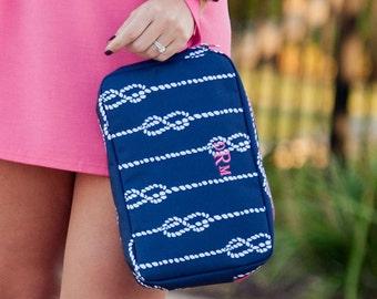 LARGE COSMETIC BAG- Wristlet Tote, Monogrammed Cosmetic Bag, Large Accessory Bag, Bridesmaid Gift, Make-up bag, Cosmetic Bag, Makeup Bag