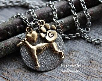 Greyhound Necklace, Greyhound Jewelry, Greyhound Heart Dog, FREE engraving