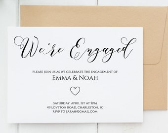 Engagement Party Invitation, Editable Engagement Party Invitation Printable,  Weu0027re Engaged Invitation Template  Engagement Party Invites Templates
