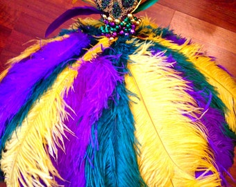 Lamou Mardi Gras purple green and gold ostrich feather umbrella with beaded fleur de lis finial & cuff