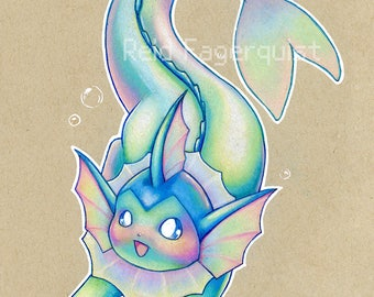 Colorful Vaporeon art PRINT