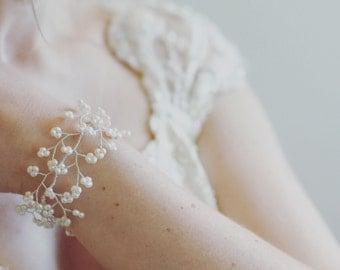 Bridal cuff bracelet, freshwater pearl cuff, wedding jewelry, bridal jewellery, bride accessories, pearl bracelet, wide cuff, silver