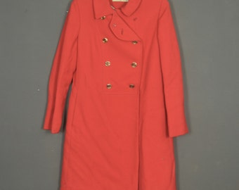 Vintage 70s red coat d'Allard - Air canada - double buttoning - as an officer