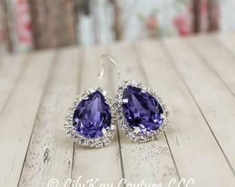 Tanzanite Earrings Purple Bridesmaid Earrings Amethyst Bridal Earrings Grape, Eggplant, Regency, Mauve, Lavender Purple Light Bridesmaid