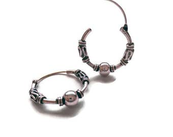 Sterling Silver Oxidized Bali Hoops/Continuous Bali Hoops/14 MM Bali Hoop Earrings/Endless Bali Hoops/Small Bali Hoops