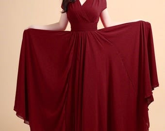Maroon Maxi Dress with V Neck & Cap Sleeves-Burgundy Maxi Dress-Dark Red Maxi Dress - Red Prom Dress-Evening Dress-100 Colors A157N