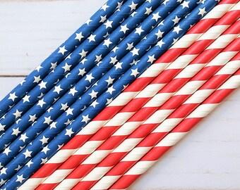 Stars and Stripes Paper Straws, 4th of July Straws, Red White Blue, Barbecue Decor, Mason Jar Straws, Drinking Straws, Cake Pop Sticks