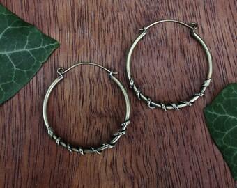 Brass Coiled Serpent Hoop Earrings