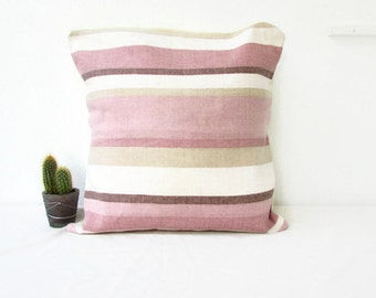 Pink pillow cover, striped pink cushion cover, pastel cushion, country cottage style, throw pillow, handmade in the UK