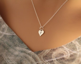 Sterling Silver T Letter Heart Necklace, Silver Tiny Stamped T Initial Heart Necklace, Stamped T Letter Charm Necklace, T Initial Necklace