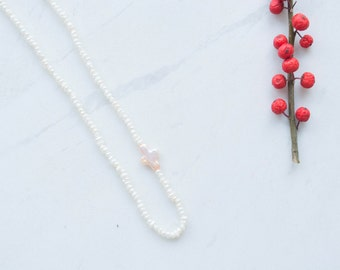 Pearl necklace, cream freshwater pearls, cross necklace, sterling silver findings